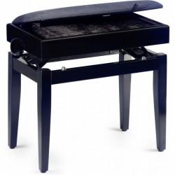 banquette piano avec coffre PB55 BKM VBK (noire mat dessus velours noir)